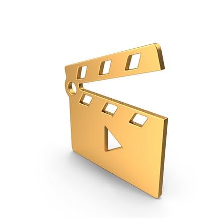 Movie Clapper Open Symbol Gold