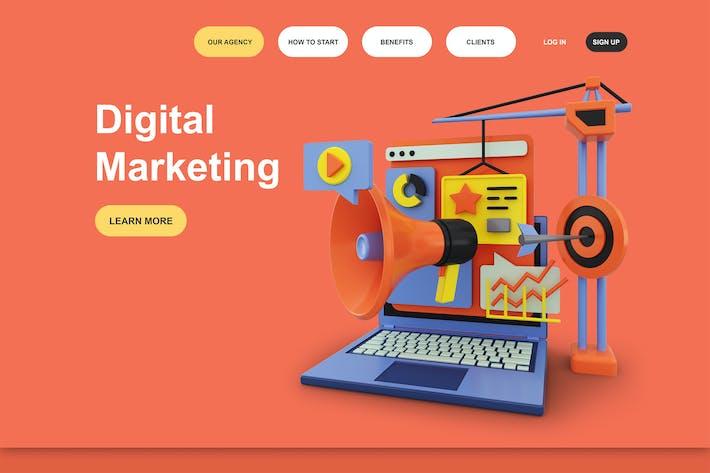 Thumbnail for Цифровой маркетинг 3D Иллюстрация целевой страницы