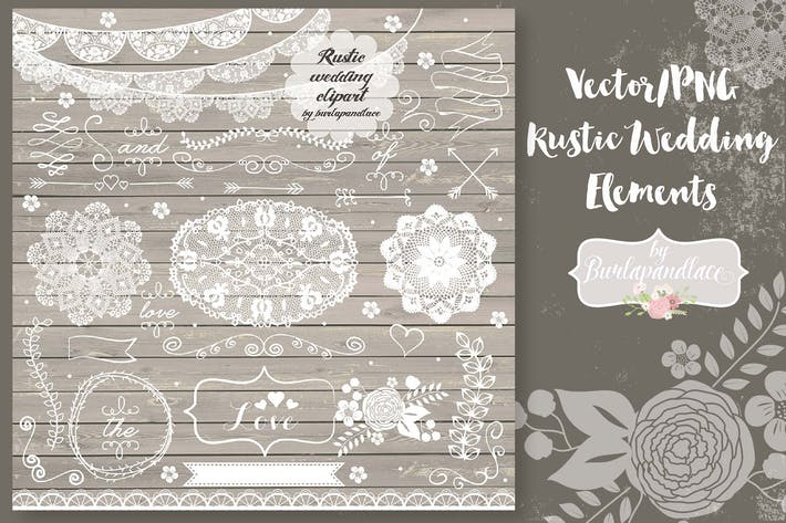 Cover Image For Vector/PNG  Rustic Wedding  Elements