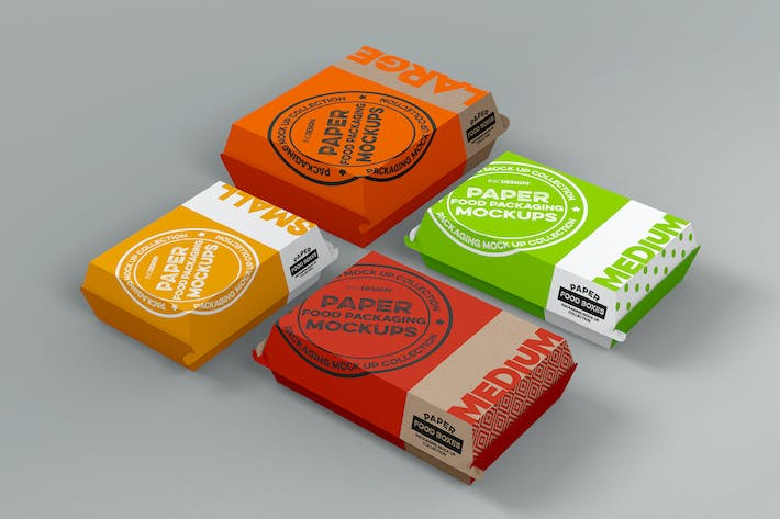 Thumbnail for Paper Clamshell Takeout Packaging Mockups