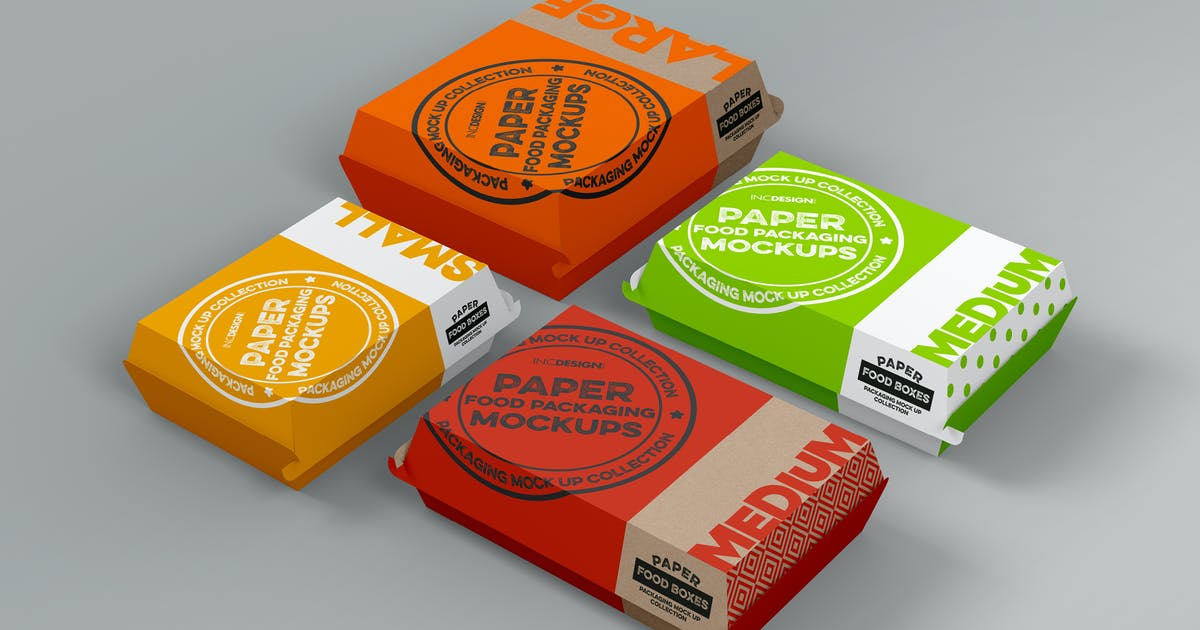 Download Paper Clamshell Takeout Packaging Mockups by ina717