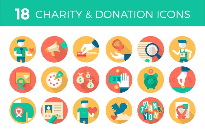 Thumbnail for 18 Charity & Donation Icons