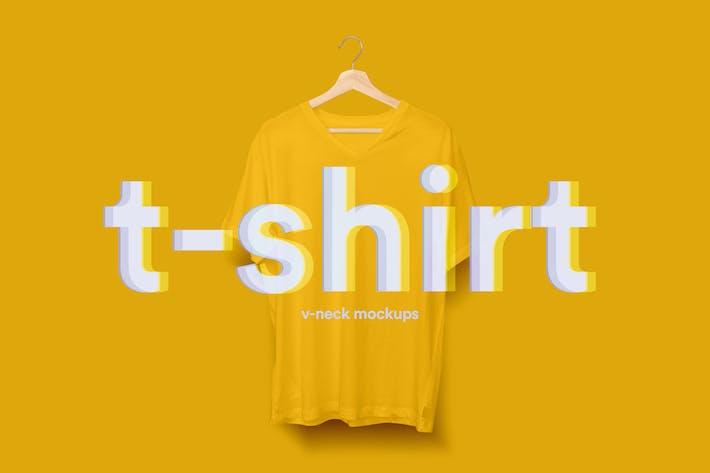 Thumbnail for V-Neck T-Shirt Mock-up