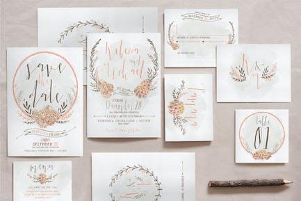 Wreath & Flower Wedding Invitation