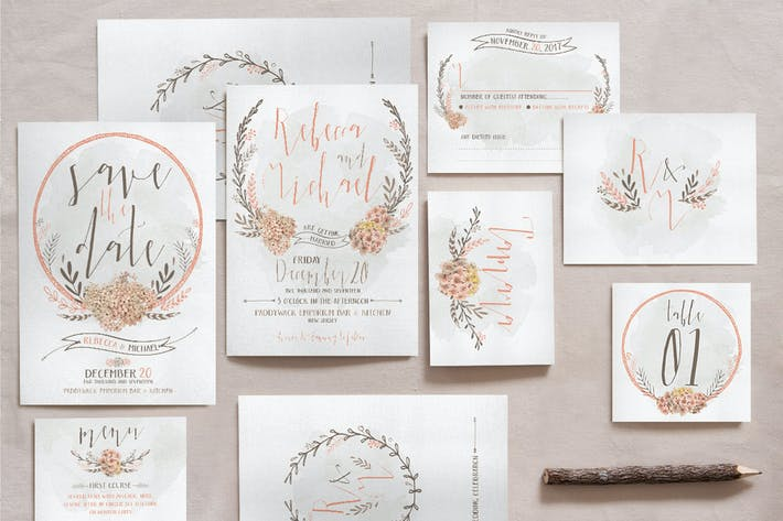 Thumbnail for Wreath & Flower Wedding Invitation