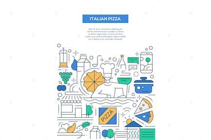 Italian Pizza - line design style poster