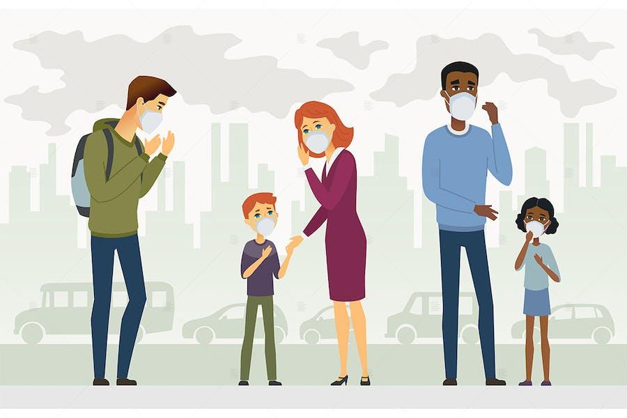 Air pollution - cartoon characters illustration