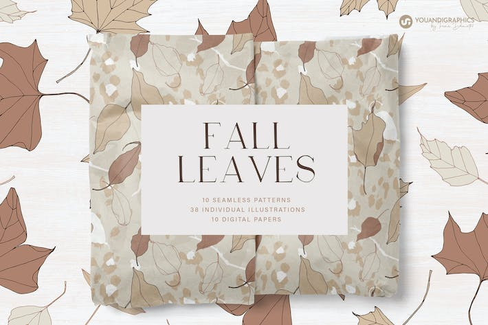 Thumbnail for Fall Leaves Seamless Patterns