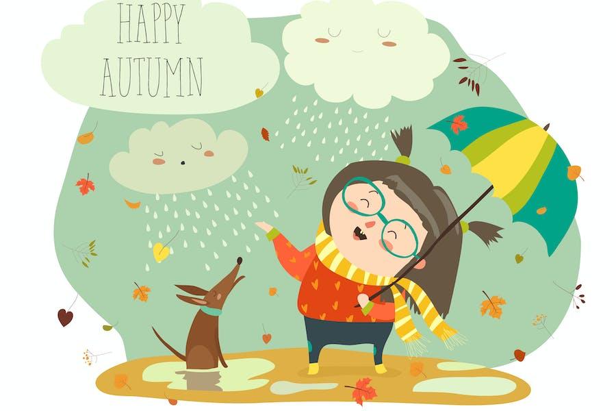 Симпатичная девушка играет в дождь с зонтиком. Вектор