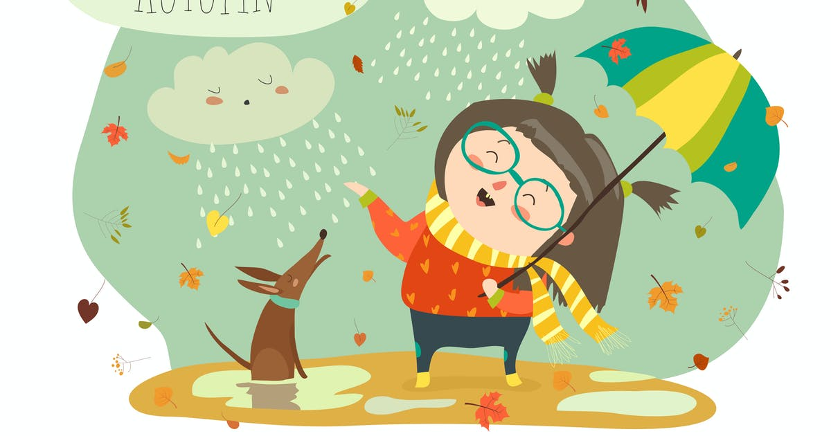 Download Cute girl playing in rain with umbrella. Vector by masastarus
