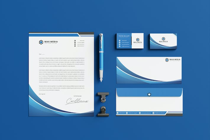 Thumbnail for Bussiness Blue Brand Identity & Stationery Pack