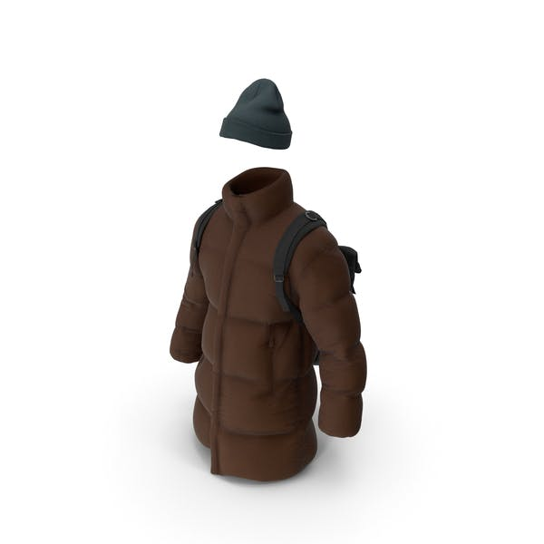 Thumbnail for Mens Down Coat Hat and Backpack