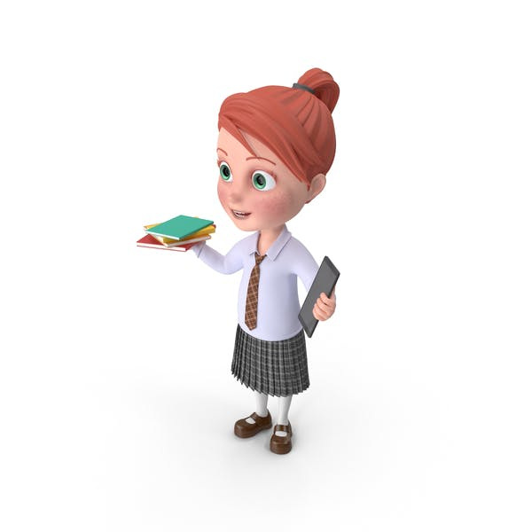 Thumbnail for Cartoon Girl Grace Holding Books And Tablet