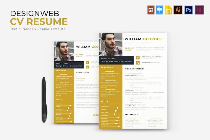 Thumbnail for Design Web | CV & Resume
