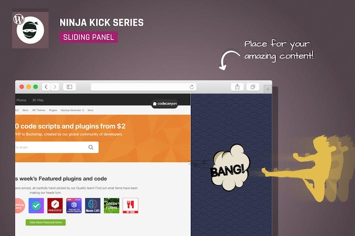 Thumbnail for Ninja Kick: WordPress Off-Canvas Sliding Panel
