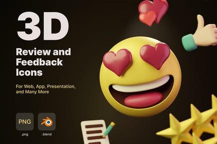 3D Review and Feedback Icons