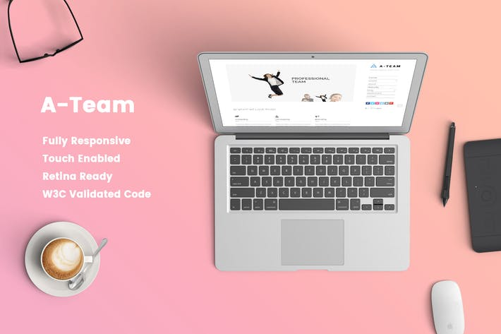Thumbnail for A-TEAM: Minimal & Responsive HTML5 Blog Template