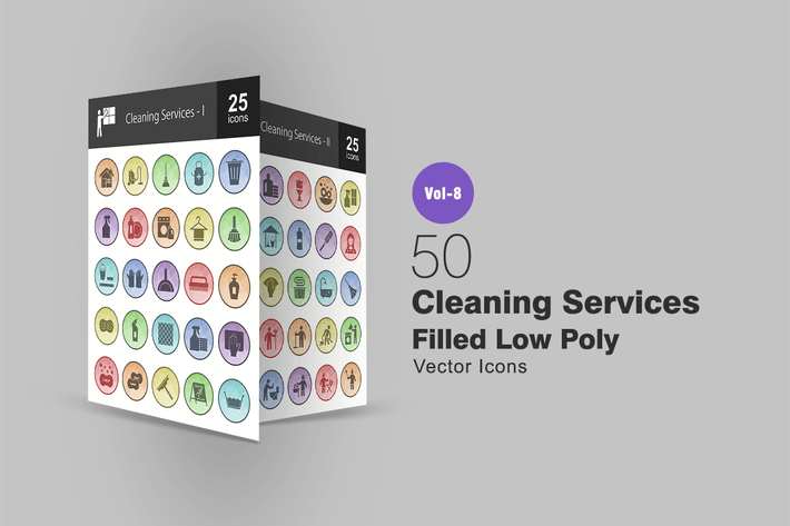 Thumbnail for 50 Cleaning Services Filled Low Poly Icons