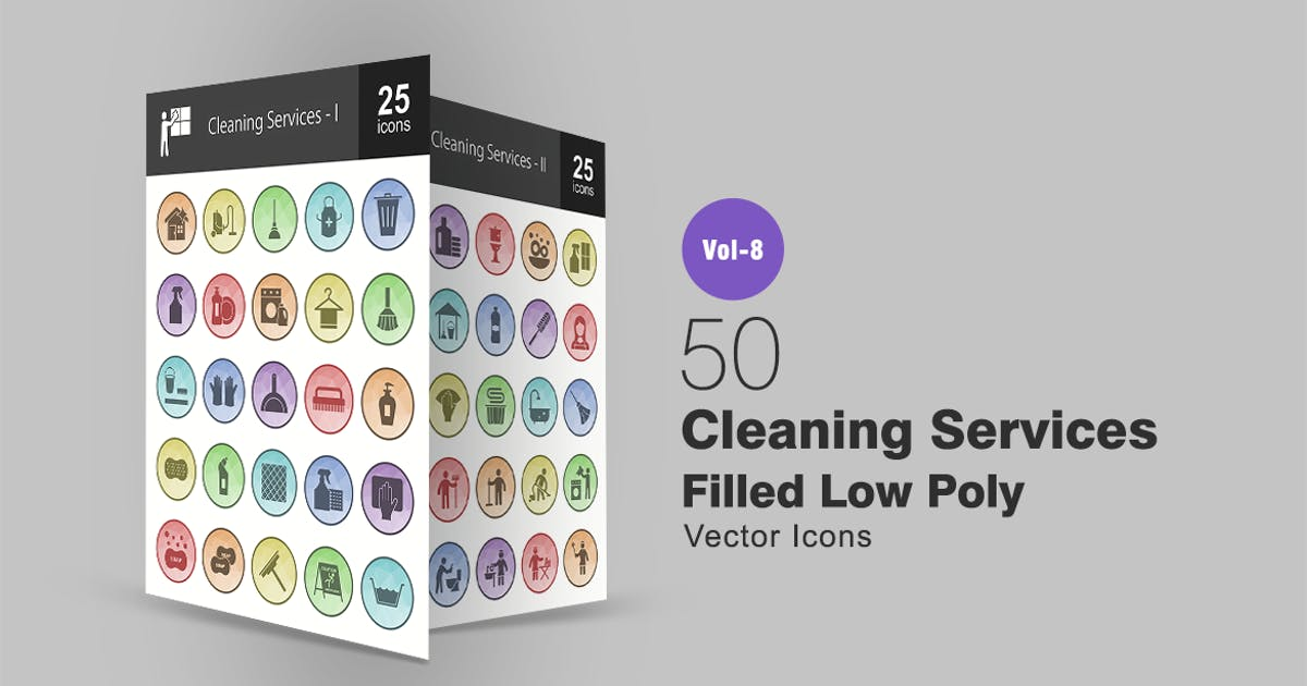 Download 50 Cleaning Services Filled Low Poly Icons by IconBunny