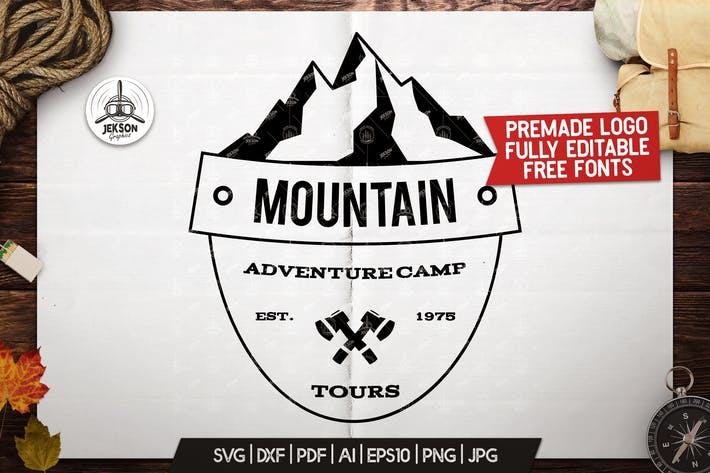 Thumbnail for Retro Camping Insignia, Mountain Vector Logo Label