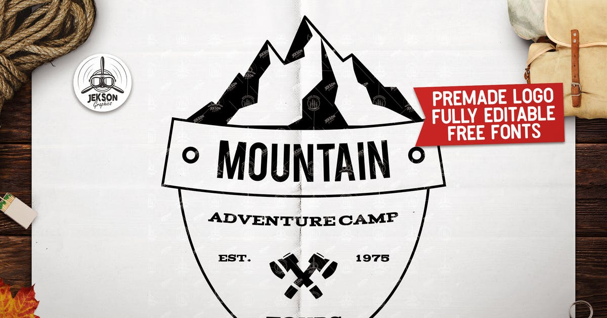 Download Retro Camping Insignia, Mountain Vector Logo Label by JeksonJS