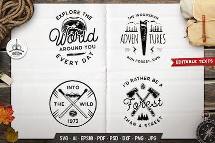 Forest Adventure Logos Set, Retro Camp Badges