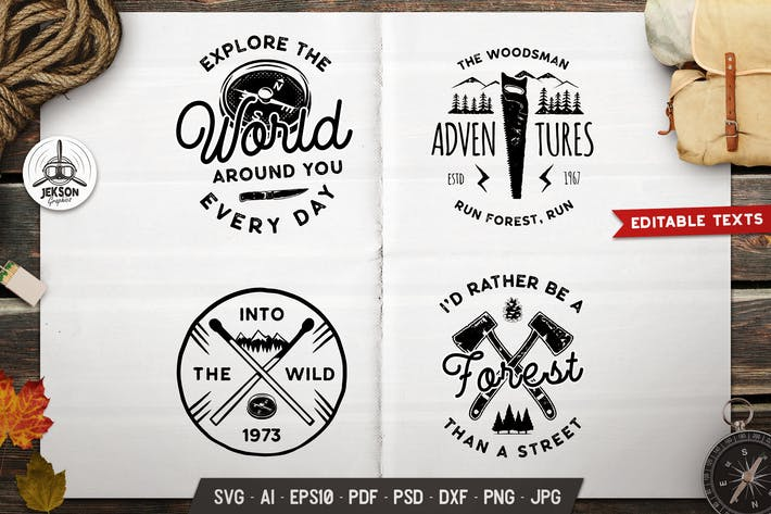Thumbnail for Forest Adventure Logos Set, Retro Camp Badges