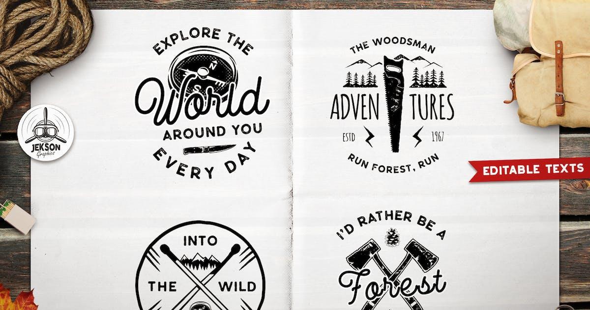 Download Forest Adventure Logos Set, Retro Camp Badges by JeksonJS
