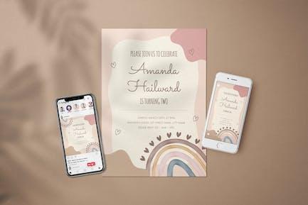 Birthday Party Girl Invitation - Flyer Media Kit