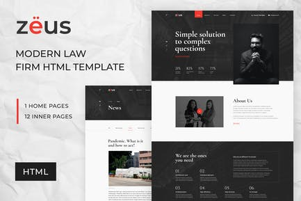 Zeus - Lawyers and Law Firm HTML Template
