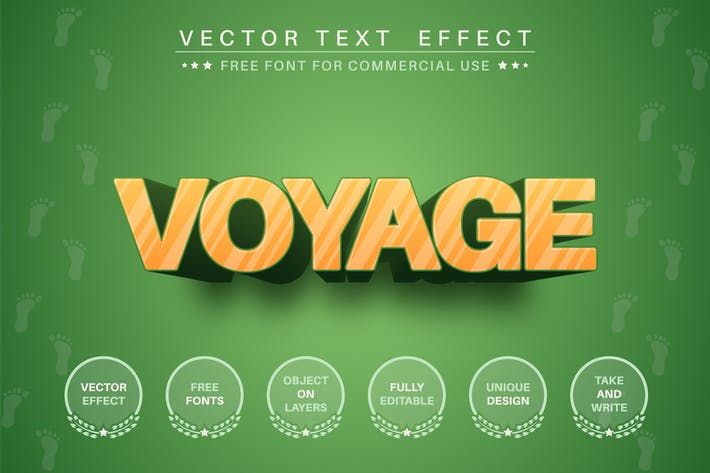 Sunset voyage - редактируемый текстовый эффект, стиль шрифта