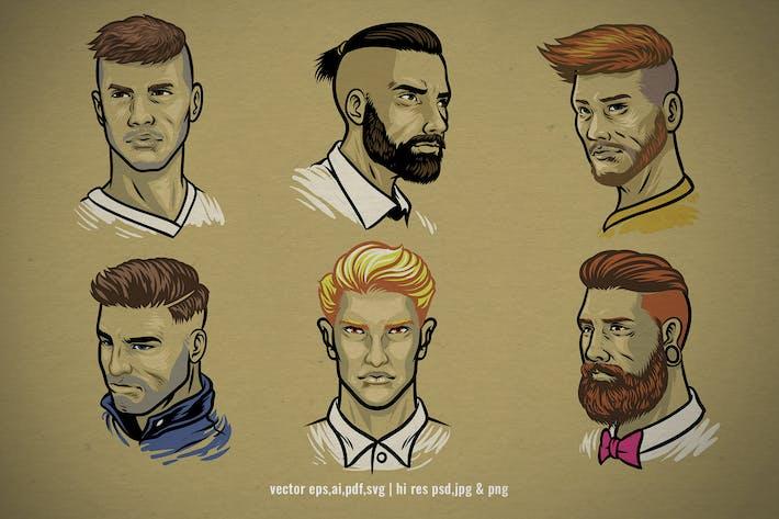 set vector illustration of men's hairstyles