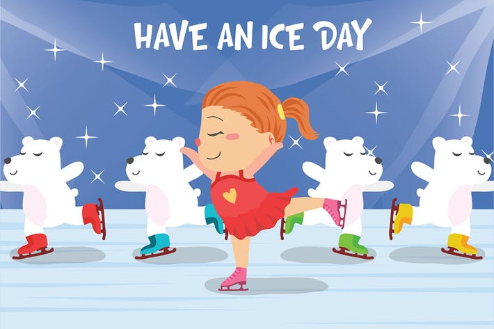 Ice Skating - Vector Illustration