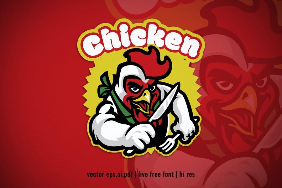 chicken cartoon character logo