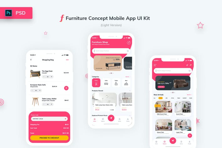 Cover Image For Furniture App UI Kit Light Version
