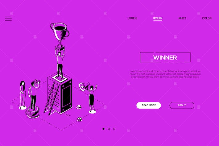 Thumbnail for Winner - line design style isometric web banner