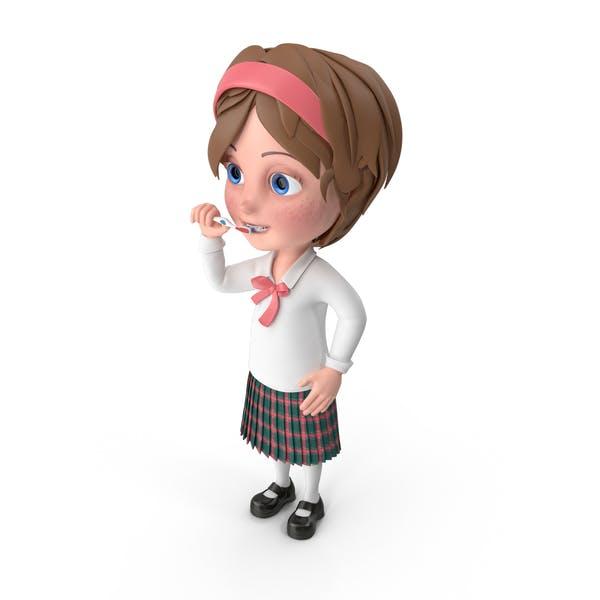 Мультфильм девушка Меган чистки зубов
