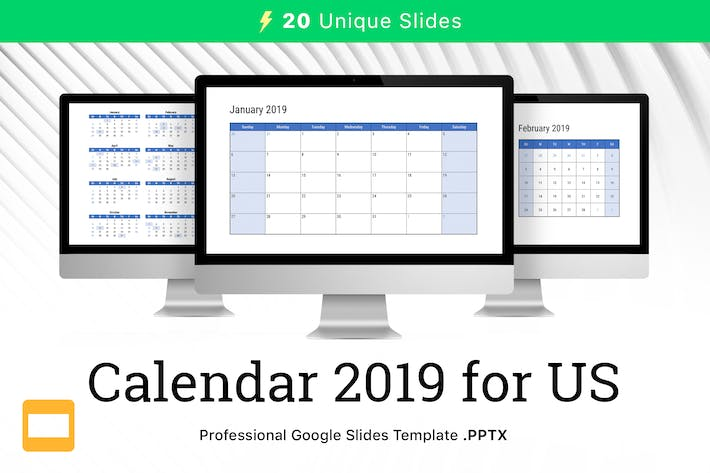 Thumbnail for Calendar 2019 US for Google Slides