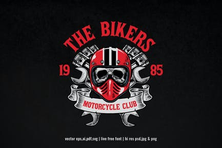 vintage hand drawn motorcycle club logo