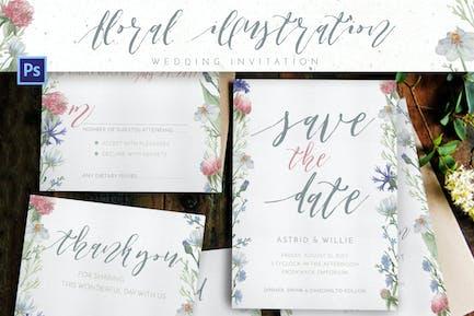 Floral Illustration Wedding Suites