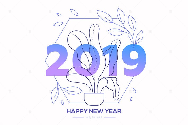 Thumbnail for Happy New Year - line design style illustration