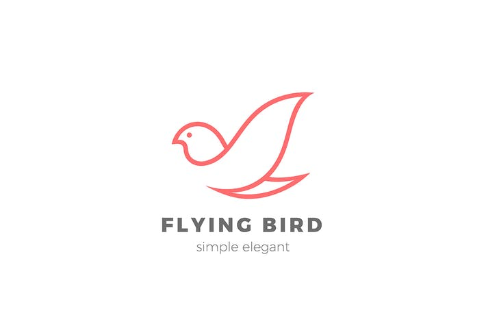 Thumbnail for Logo Flying Bird Linear Elégant