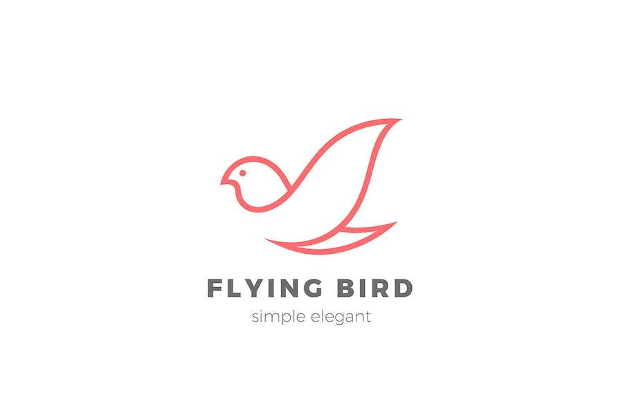 Flying Bird Logo Linear Elegant