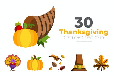 30 Thanksgiving Icons - FLAT