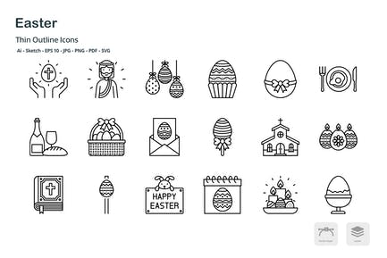 Easter celebration thin outline icons