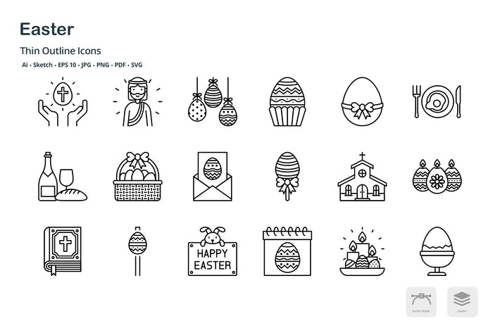 Thumbnail for Easter celebration thin outline icons