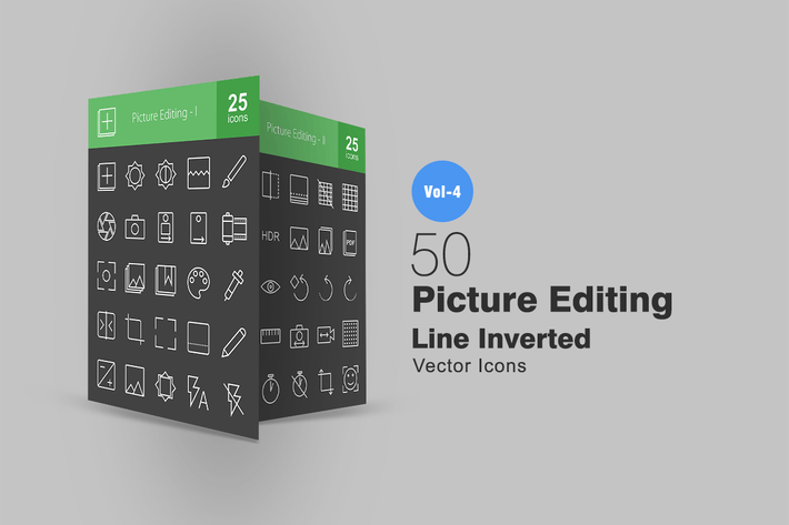 Thumbnail for 50 Picture Editing Line Inverted Icons