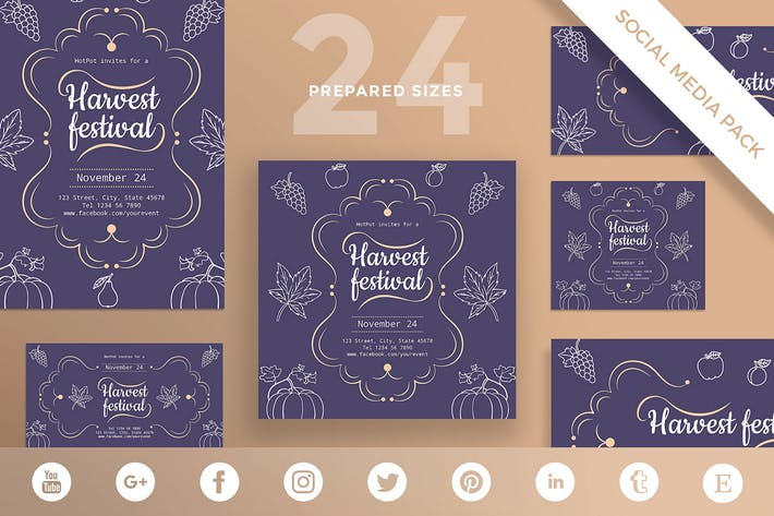 Thumbnail for Harvest Festival Social Media Pack Template