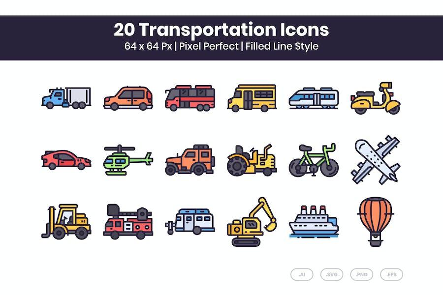 20 Transport-Icons Set - Gefüllte Linie