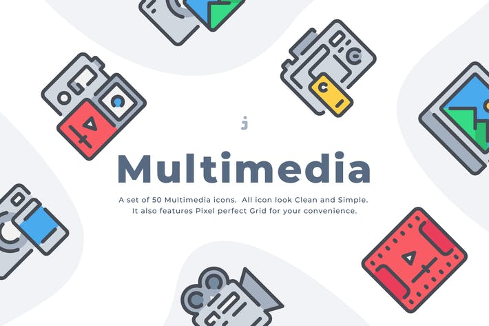 Thumbnail for 50 Multimedia icon set
